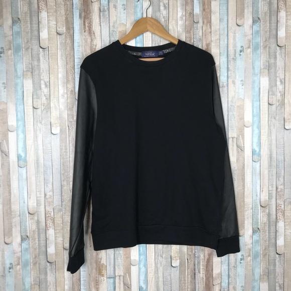 Topman Other - Topman L Black Faux Leather Sleeve Crew Sweatshirt